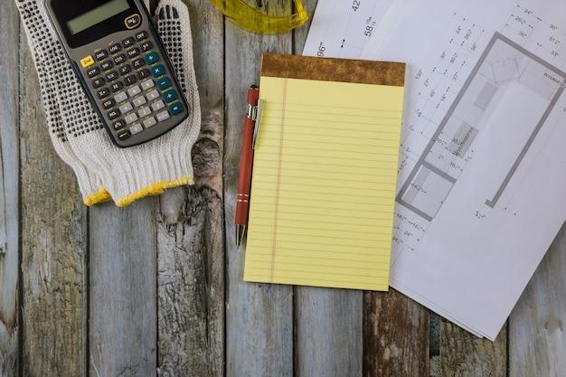 Keukenontwerp blauwdruk plan bouwproject in modulaire kast met architect ontwerper ingenieur architectonische rekenmachine