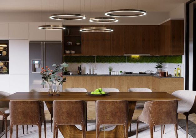 Keukenontwerp met houten tafel keukenkast, plank en stoelen 3d render