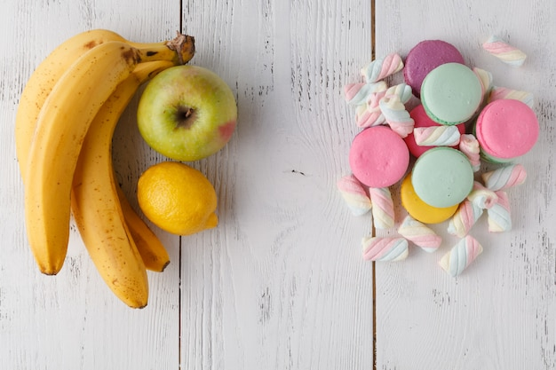 Keuze fruit vs snoep achtergrond
