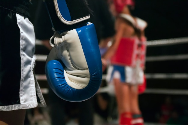 Kickboxer-atleet in de ring