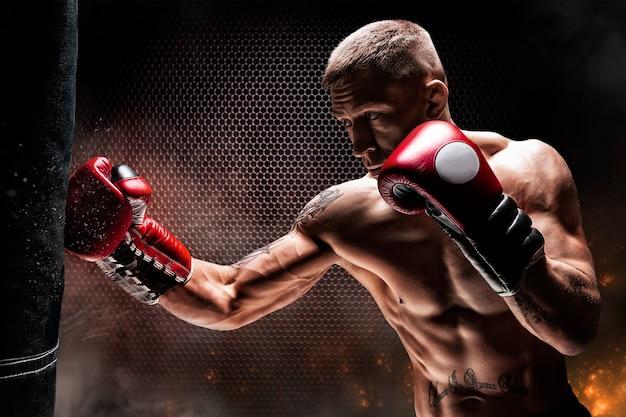 Kickboxer slaat de tas. een professionele atleet trainen. het concept van mma, worstelen, muay thai. gemengde media