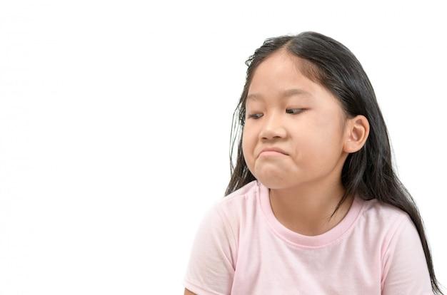 Kid aziatische meisje gezicht expressie afgunst, jaloers geïsoleerd