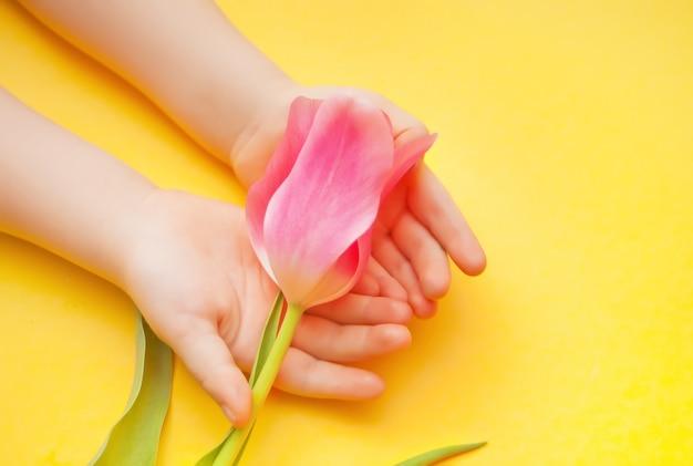Kid babymeisje met een roze tulp in handen op de gele ondergrond. pasen, moederdag. lente concept.