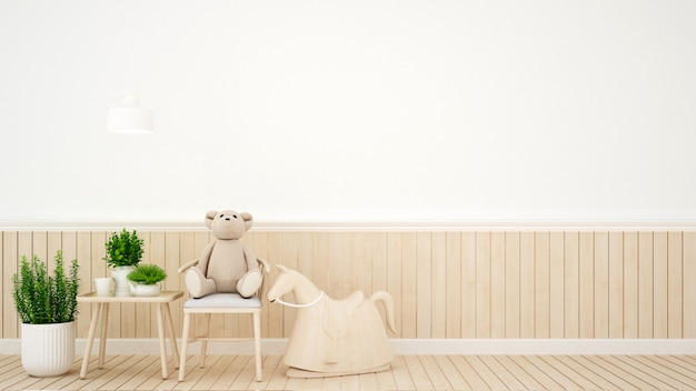 Kid kamer in huis of kinderdagverblijf - interieurontwerp - 3d-rendering