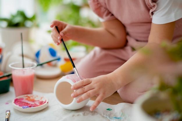 Kid schilderen plant pot diy hobby