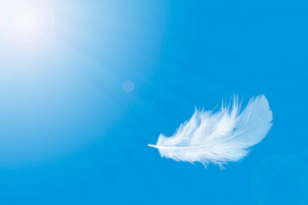 Kies zacht en licht een witte veer uit die in een blauwe lucht drijft.