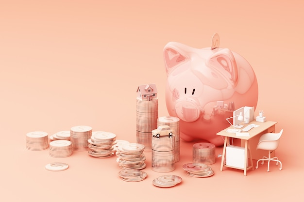 Kieskeurige bank en munt, om geld te investeren, ideeën om geld te besparen voor toekomstig gebruik. met werktafel en auto en huis. 3d-rendering
