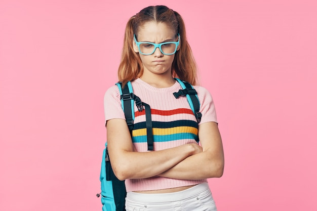 Kind basisschool student met een bril