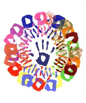 Kind handafdrukken cirkel