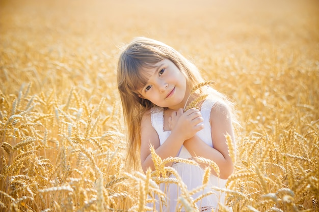 Kind in een tarweveld. selectieve aandacht.