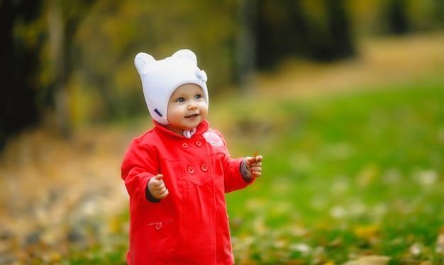 Kind in herfstgebladerte zet zijn eerste stappen