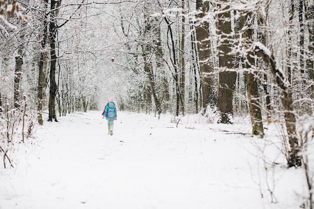 Kind meisje in een kleurrijke kleding die in een besneeuwde winter park loopt