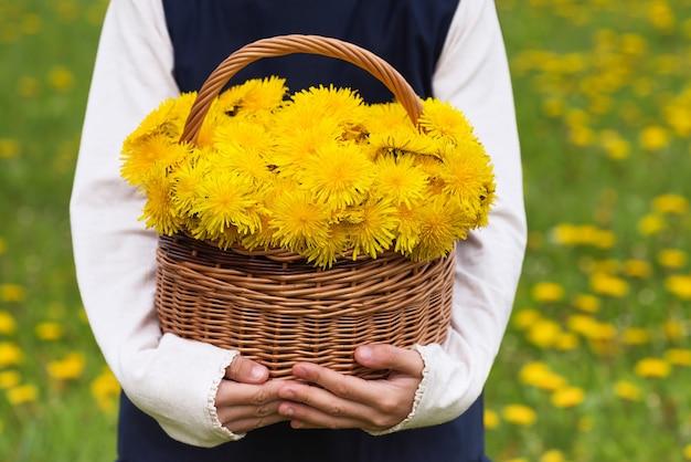 Kind met mand met paardebloem gele bloemen. h.