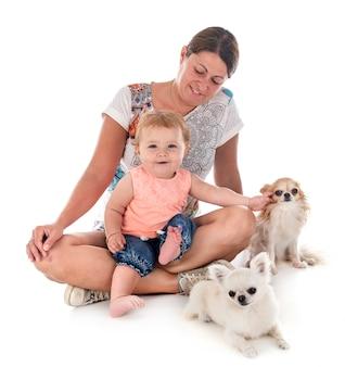 Kind, moeder en hond