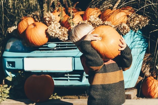 Kind pompoenen plukken op halloween kleine jongen speelt met pompoenen op pompoenveld