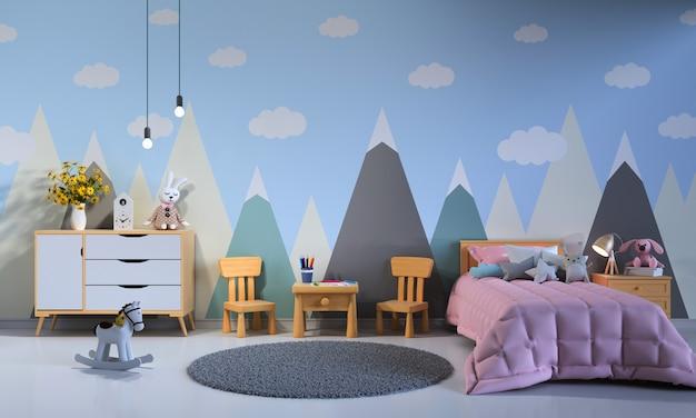 Kind slaapkamer interieur 's nachts