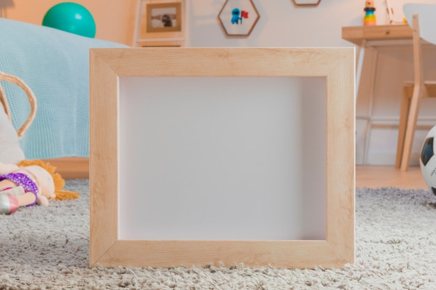 Kind speelgoed stilleven met frame sjabloon