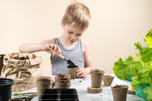 Kind zaait zaden in turfpotten