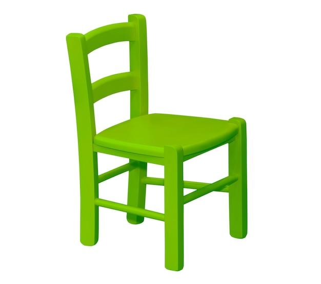 Kinder houten groene stoel geïsoleerd op wit