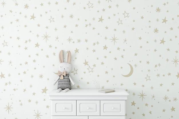 Kinderachtergrond met behang gouden sterren Premium Foto
