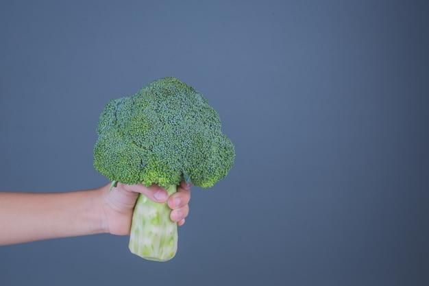 Kinderen die groenten op een grijze achtergrond houden.