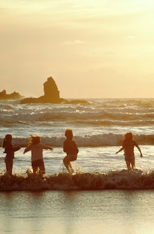 Kinderen die in golven, kanonstrand spelen, oregon