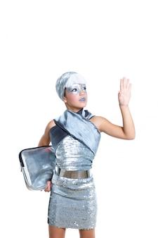 Kinderen futuristische mode kinderen meisje zilveren make-up