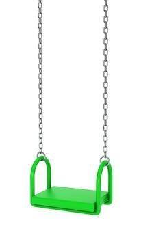 Kinderen groene speeltuin schommel op een witte achtergrond