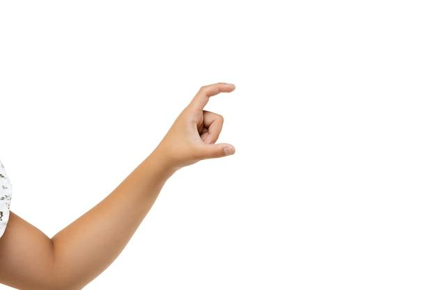 Kinderen handen gebaren op wit