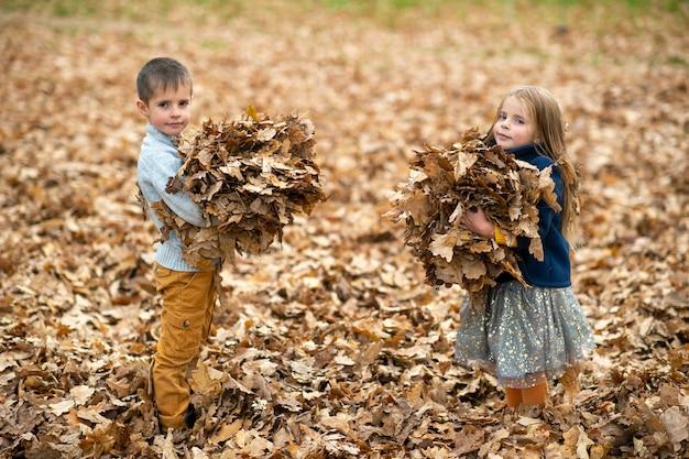 Kinderen houden herfstbladeren