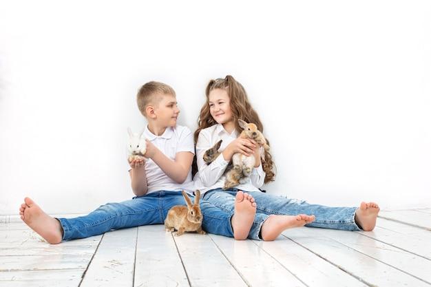 Kinderen jongen en meisje blij met een mooie pluizige kleine konijntjes op de witte achtergrond