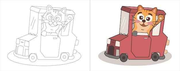 Kinderen kleurboek illustratie kat rijden mini auto
