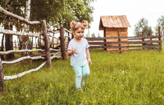 Kinderen, meisjes die naast een hek in het dorp staan. wandelingen op het platteland. landbouw. ecologie en een gelukkige jeugd, mooi babymeisje.