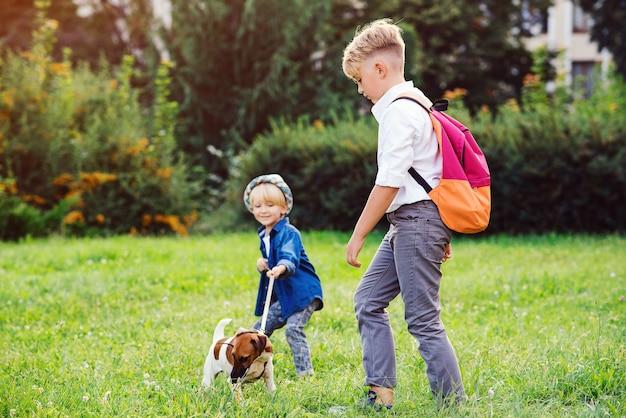 Kinderen met hond wandelen in het park. familie, vriendschap, dieren en levensstijl.