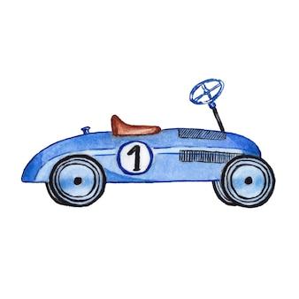 Kinderen speelgoedauto aquarel geschilderd op wit