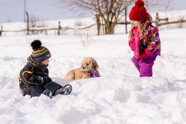 Kinderen spelen met cocker spaniel in de winter