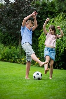 Kinderen spelen met voetbal in park