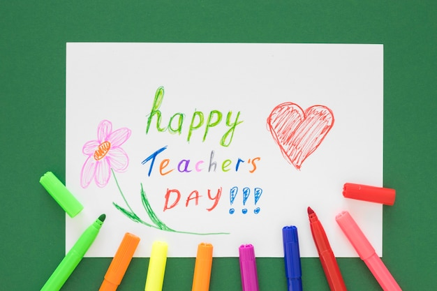Kinderen tekeningen gelukkig leraar dag concept