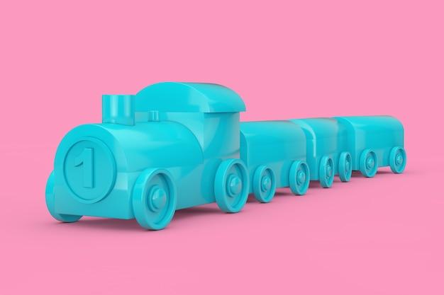 Kinderen toy blue plastic train mock up duotone op een roze achtergrond. 3d-rendering
