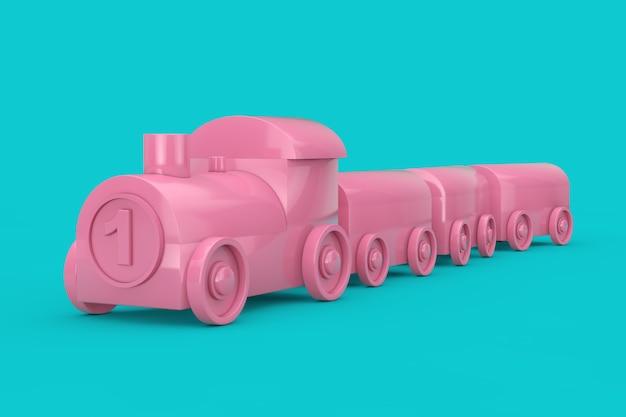 Kinderen toy pink plastic train mock up duotone op een blauwe achtergrond. 3d-rendering