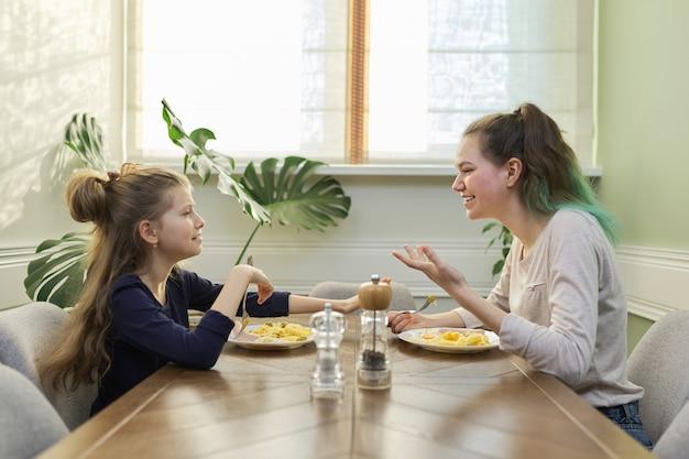 Kinderen twee meisjes zusters tiener en jongere eten lunch aan tafel in huis keuken, zelfgemaakte gerechten, familiecommunicatie