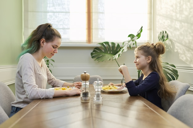 Kinderen twee meisjes zusters tiener en jongere eten lunch aan tafel in huis keuken