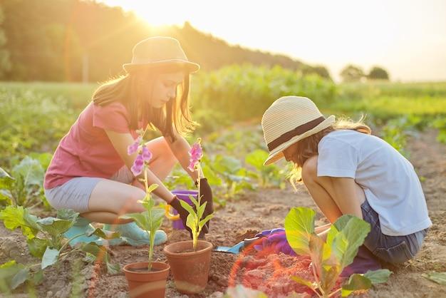 Kinderen twee mooie meisjes in hoeden met bloemen in potten, handschoenen met tuingereedschap, planten in de grond planten. achtergrond lente zomer landschap, natuur, lucht
