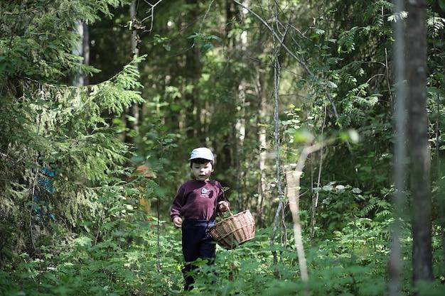 Kinderen verzamelden zich tijdens een wandeling in het dichtstbijzijnde bos op zoek naar paddenstoelen