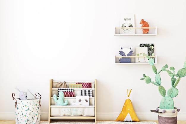 Kinderkamer achtergrond met witte muur Premium Foto