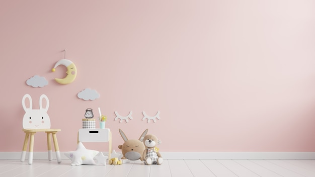 Kinderkamer in licht roze kleur muur