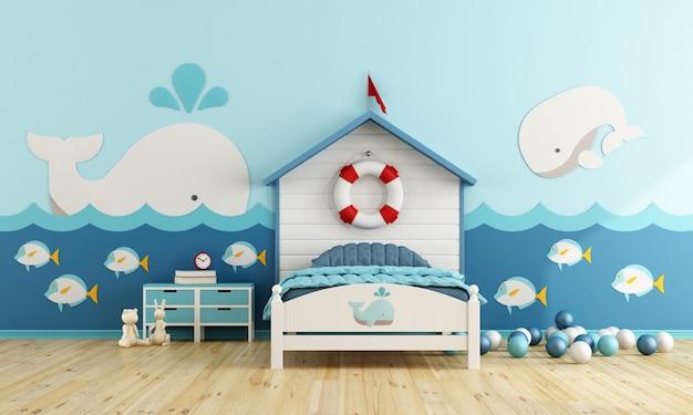 Kinderkamer in maritieme stijl met bed en speelgoed