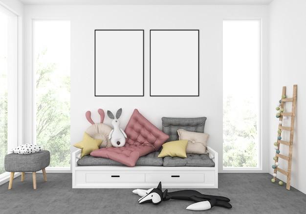 Kinderkamer, kinderkamer voor spellen, speelkamer, mockup met dubbele frames, illustraties