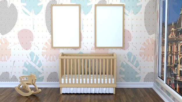 Kinderkamer met een kinderbed en lege kaders