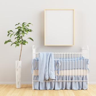 Kinderkamer met een verticale houten frame poster 3d-rendering
